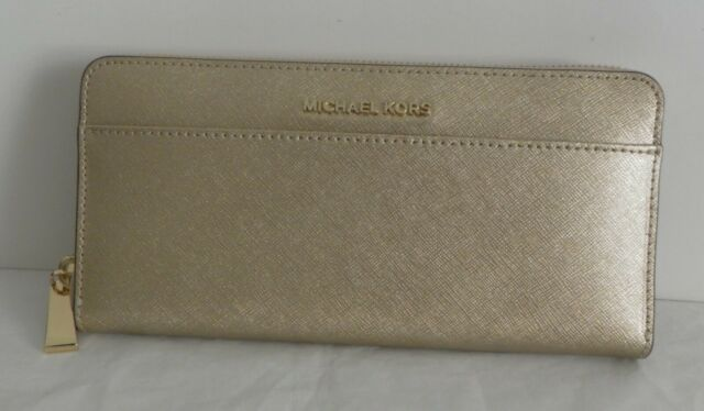 8cb153a4eb5f Michael Kors Zip Around CONTINENTAL Wallet in Pale Gold for sale ...