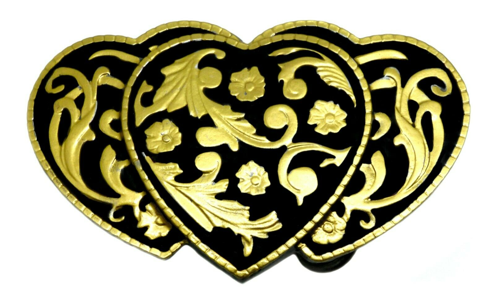 3 Hearts Belt Buckle American Black & Gold Western Floral Authentic White Wolf