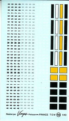VIRAGES  T134 DECALS 1//43 ANCIENNES PLAQUES IMMATRICULATION FRANCE A COMPOSER