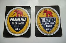 MINT PAIR OF DIFFERENT FREMLINS ELEPHANT LIGHT ALE  BEER BOTTLE LABEL