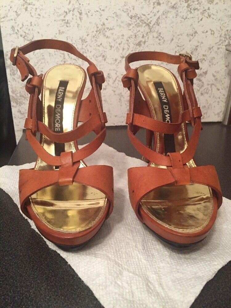 BERNY DEMORE Braun Leder Strappy Platform Stiletto SANDALS High Heels 39 1/2