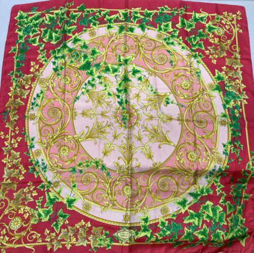Rare Vtg Gianni Versace Red Vine Print Silk Scarf
