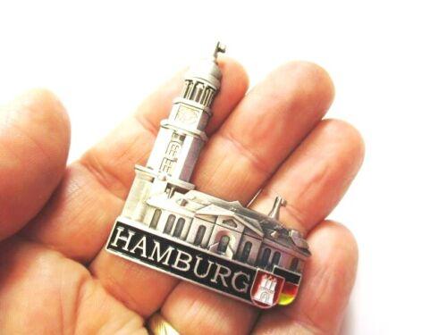 Souvenir Germany,Deutschland,Neu Hamburg Michaeliskirche Magnet Metall