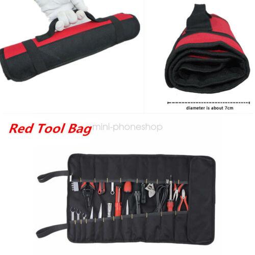 Car Red Repair Tool Roll Holder Bag Storage Pocket Socket Pouch Case Organizer