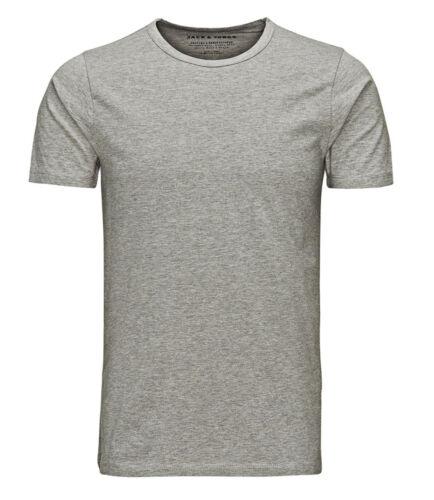 Jack /& Jones New Mens Crew Neck Slim Fit T-shirt Stretchy Plain Lycra Cotton Tee
