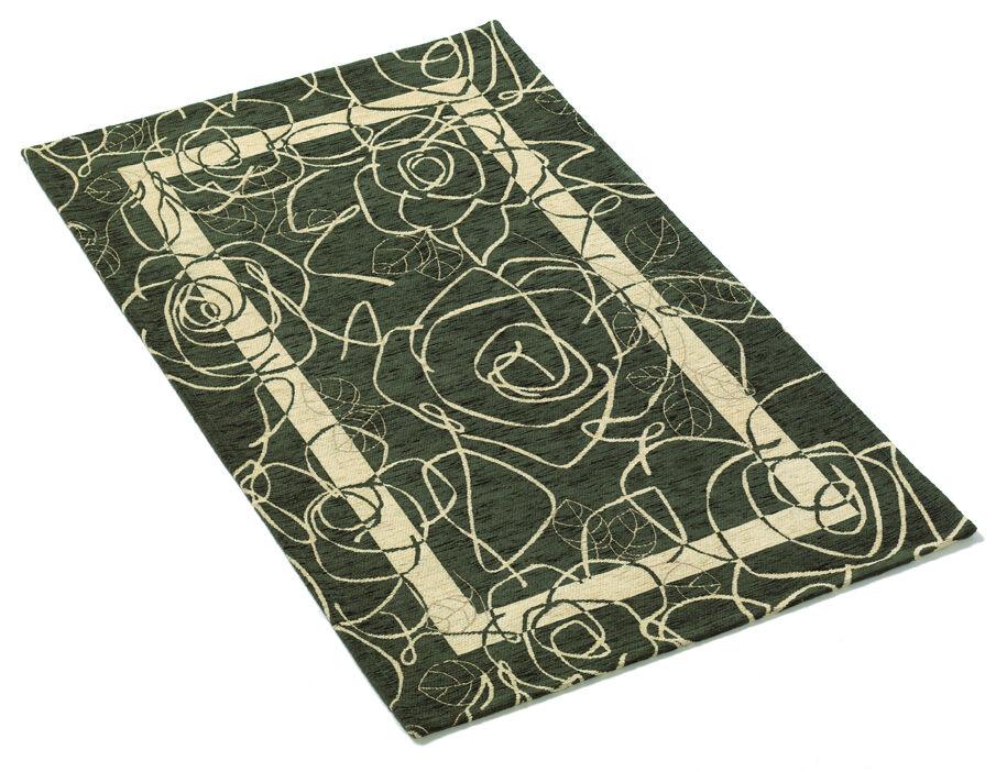 tapis moderne vert 85x150 chenille salon pièce entrée- vert moderne blanc 54fa35