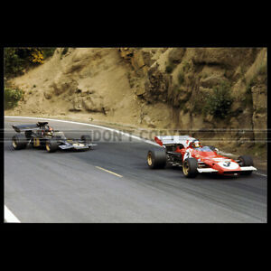 Photo A.008885 JACKY ICKX FERRARI EMERSON FITTIPALDI LOTUS GP F1 1972 CHARADE