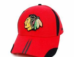 Chicago-Blackhawks-Reebok-NHL-Team-Striped-Bill-Adjustable-Red-Hockey-Cap-Hat