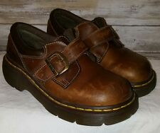 DOC MARTENS brow  leather buckled oxfords mary jane dr. martens womens 6