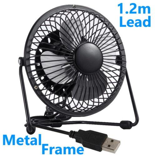 """USB Black Metal Desk Fan 4/"""" Portable Desktop Cooling Quiet Computer Laptop PC"""