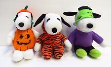 """7"""" Peanuts SNOOPY In Halloween Costumes Plush United Feature Syndicate Lot Of 3"""