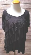 I.N. Studio Women's Plus size 2X Stretch Black Ruffled Lace Short Sleeve Top