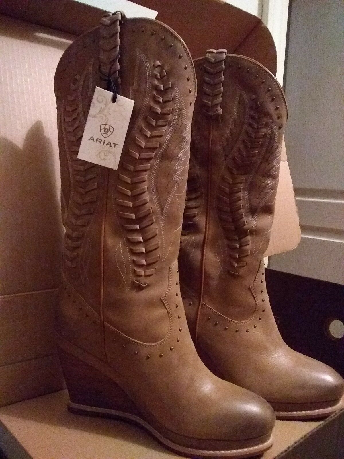 Ariat boots wedged heel , new
