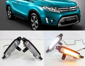 2x-LED-DRL-Daytime-Running-Light-Turn-Signal-Lamps-For-Suzuki-Vitara-2015-2018