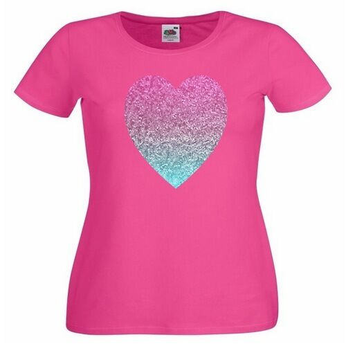Glitter Heart Ladies PRINTED T-SHIRT Pink Turquoise Love