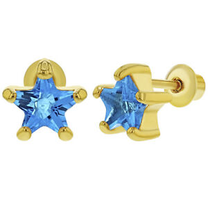 d6639a7db 18k Gold Plated March Blue Crystal Screw Back Teens Girls Earrings ...