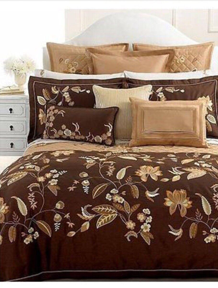 Martha Stewart BEDFORD FLOWERS 6pc King DUVET   QUILT SET Brown gold