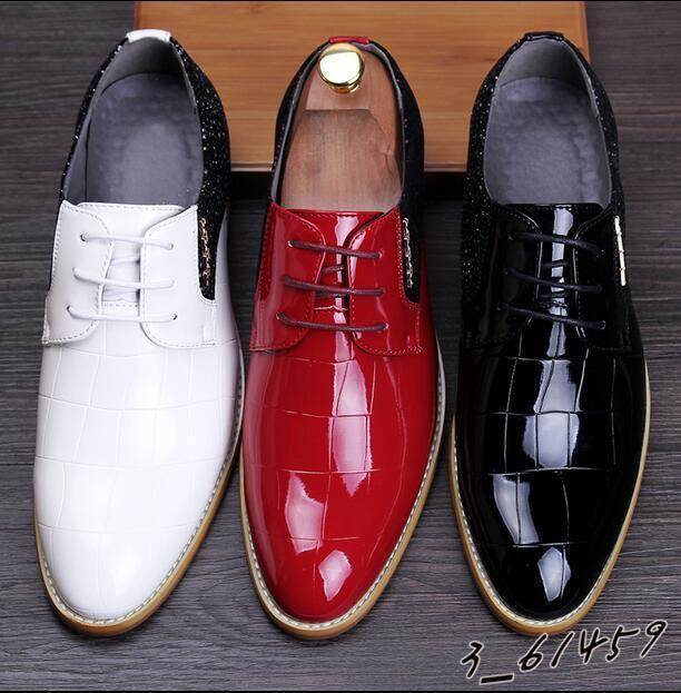 Bräutigam Schuhe Hochzeit Herrenmode Lackleder Business-Schuhe 3Farbe Fashion