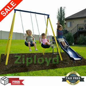 Details About Metal Swing Set Kids Playground Swing Slide Outdoor Backyard Playset Toddler Fun
