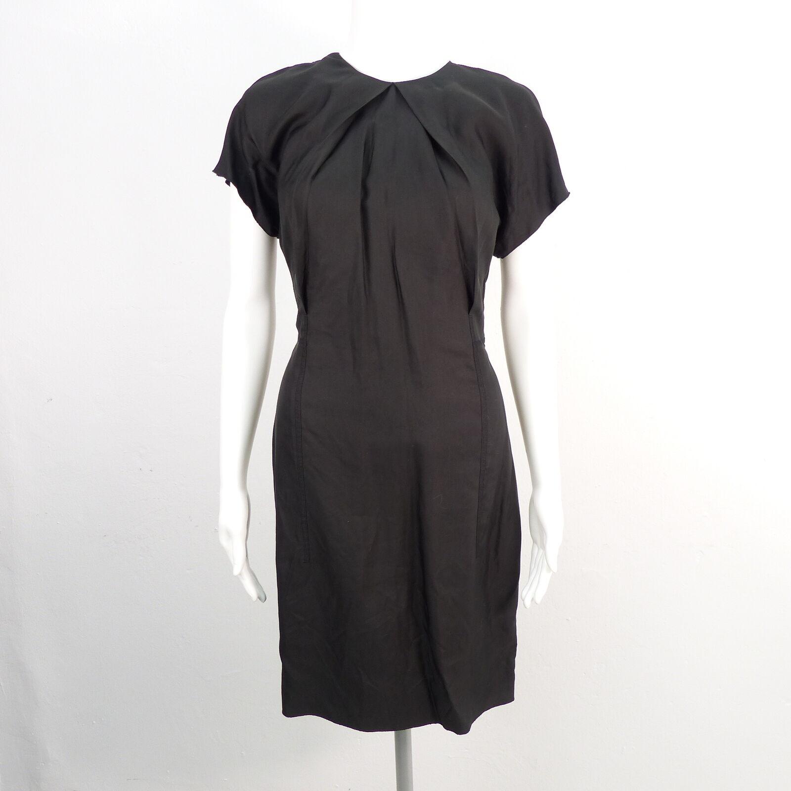 ACNE Sweety Fluid Kleid Gr. DE 36 Schwarz Damen Etuikleid Kurzarm Dress Robe