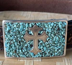 Silver Turquoise CROSS Buckle NOCONA Brown Leather Tooled Western BELT Sz Medium
