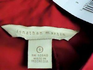 JONATHAN-MARTIN-RedFauxSilkRuffledShortShirtDressSz6NWT