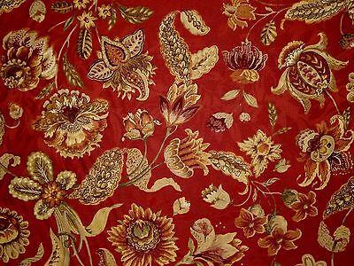 1 Yard Mill Creek Raymond Waites Jacobean Floral BRICK Drapery Home Decor Fabric