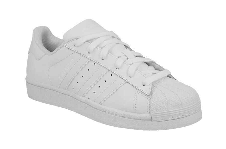 Adidas Originals Superstar Turnschuhe Weiß Mono Jungen Mädchen Damen UK Eu Größe