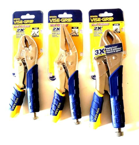 3PC IRWIN VISE GRIP Locking Plier Set Curved Jaw Long Nez 10CR 9LN 7WR