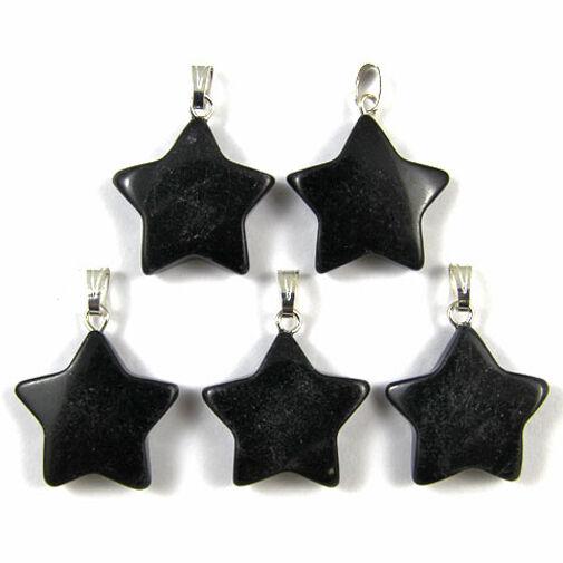 5 x BLACK ONYX Gemstone Crystal Charm STAR Pendants 20mm
