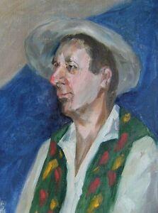 Russischer-Realist-Expressionist-Ol-Leinwand-034-Bauer-mit-Hut-034