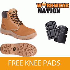 Sterling Ss819cm Wheat Nubuck Leather Lightweight Safety Boot Free Knee Pad