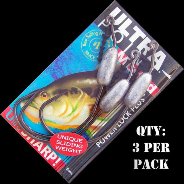 Mustad MOVABLE Weighted Swimbait Hooks for bass fishing lures. 6/0 to 8/0. 3pk