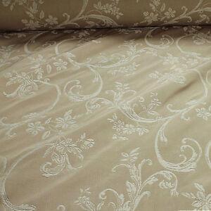 Das Bild wird geladen Stoff -Baumwolle-Polyester-Jacquard-elfenbein-Ranke-280-cm- 4237383324