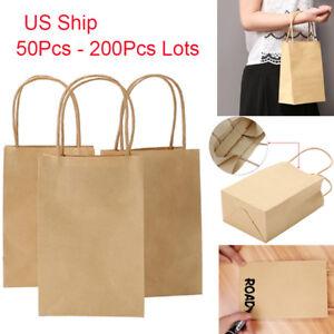 50 200 Brown Kraft Paper Gift Bag Shop Loot W Handles Xmas