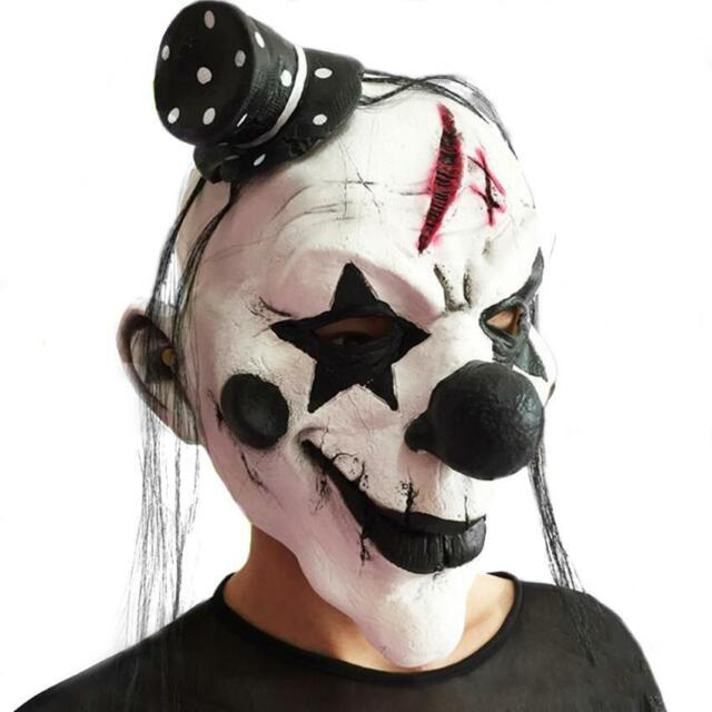 Halloween Party Cosplay Horror Latex Clown Mask with Hair Face Costume Dress Up