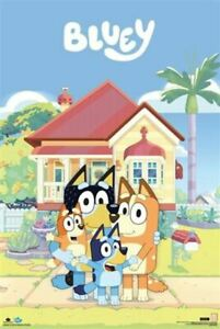 Bluey-Family-House-POSTER-61x91cm-NEW-Blue-Bingo-Bandit-Chilli-Heeler-cast