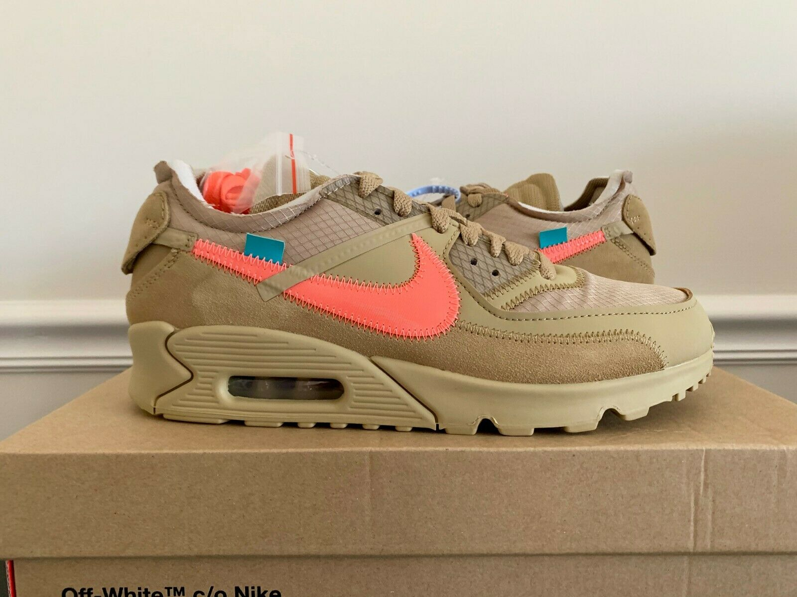 DS BRAND NEW NIKE X OFF-WHITE THE TEN AIR MAX 90 DESERT ORE SZ 8.5 AA7293-200