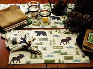 cabin-hunting-bear-deer-moose-Wilderness-Napkins-Table-Runners-Towels-Placemats