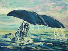 Original California Seascape Blue Whale Oil Painting RM Mortensen Fish Art