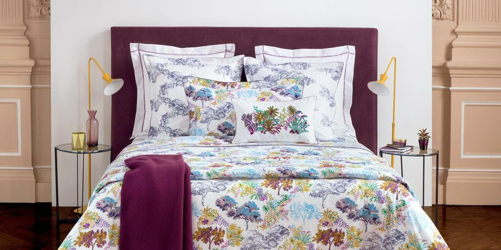 NWT NEW Yves Delorme Paysage Multi UK Queen flat sheet 94 x 116