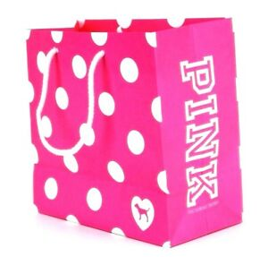 Image Is Loading Pink Victoria 039 S Secret Paper Polka Dot