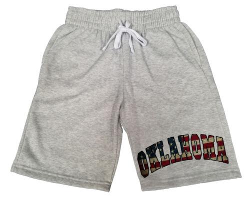 Men/'s US Flag Oklahoma Gray Fleece shorts sweatpants Jogger America USA OK B1576