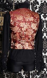 Gothic Victorian Vest Waistcoat Top Brocade Vintage Steampunk f6bYg7y