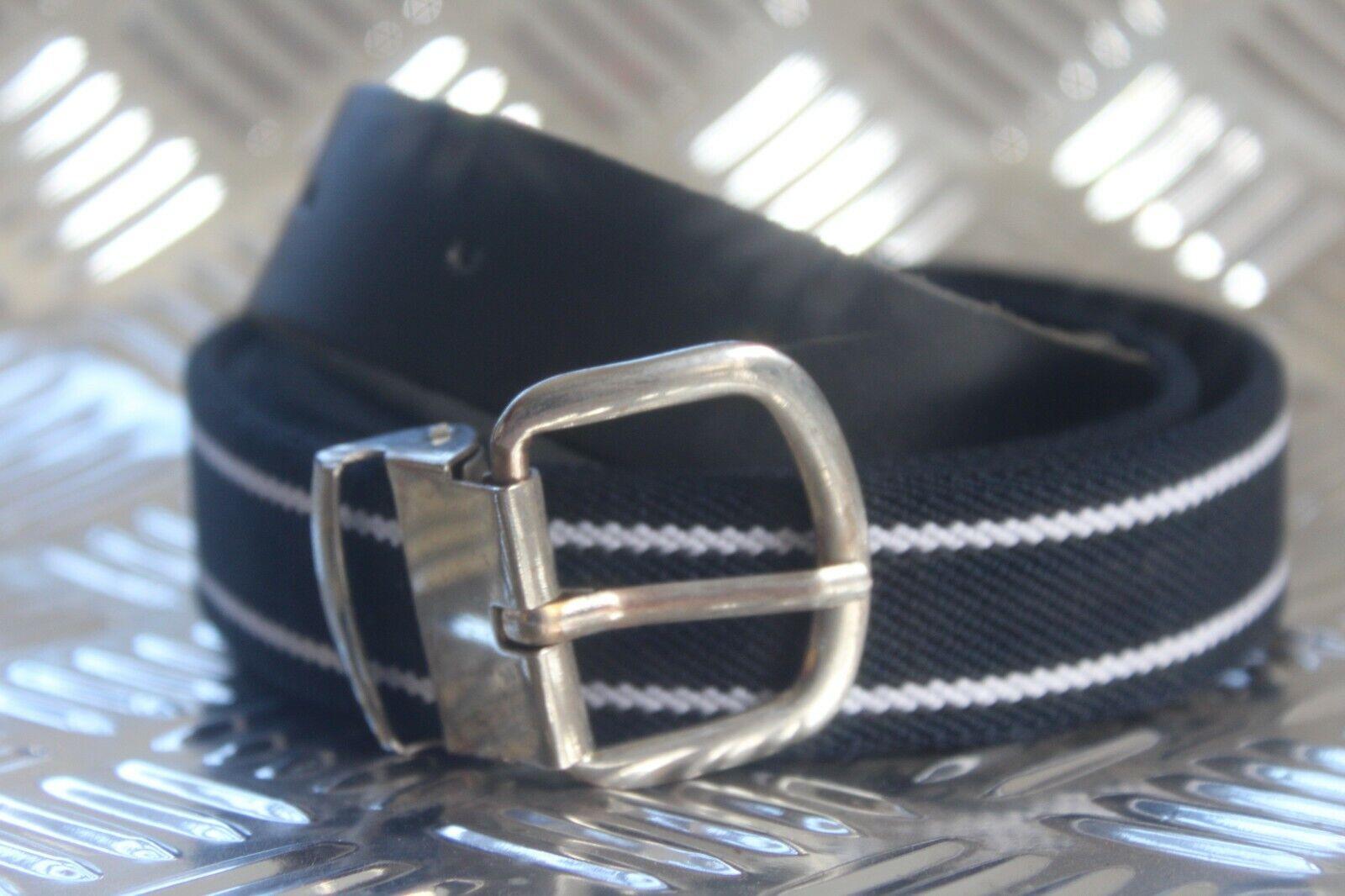 Belt Stretchgürtel Stretchy Elastic Belt Blue with 2 White Stripes