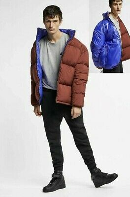 Nike NikeLab Men's Puffer Reversible Goose Down Jacket XL Blue Brown Dusty Red | eBay