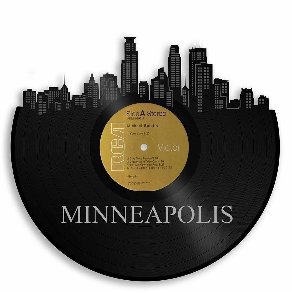 Minneapolis Vinyl Wand Kunst Stadtscape Retro Home Decor Vintage Record Exclusive