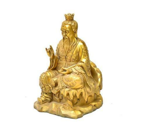 Chinese Taoism Leader Brass TaiShang Laojun Taoist God Hold Chowrie Statue