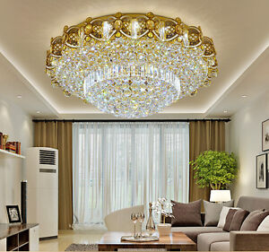 Image Is Loading Led Remote Control K9 Crystal Gold Ceiling Light