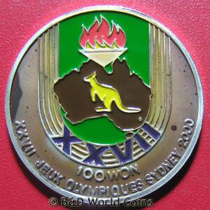 1997-KOREA-100-WON-SILVER-PROOF-KANGAROO-AUSTRALIA-MAP-SYDNEY-OLYMPICS-2000-RARE